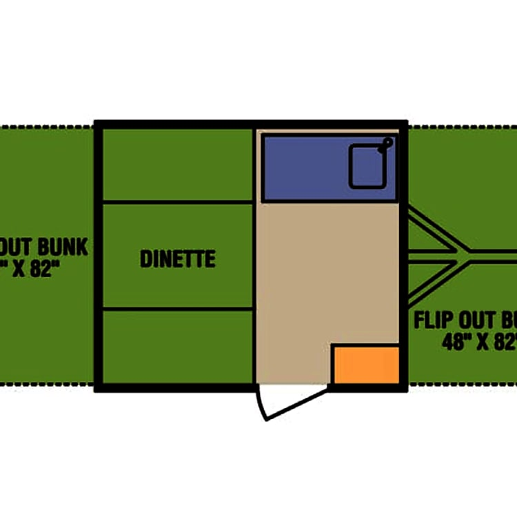The spacious floor plan! Two adults can sleep on each of the fold out beds. The dinette can be made into a bed for two children or small adults for a total of six people.