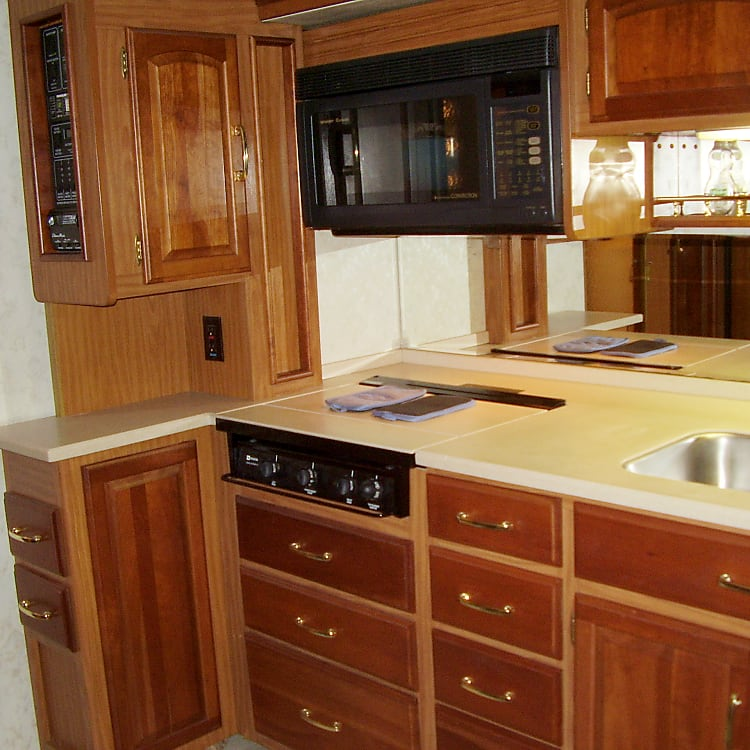 Kitchen, double SS sink, range and microwave