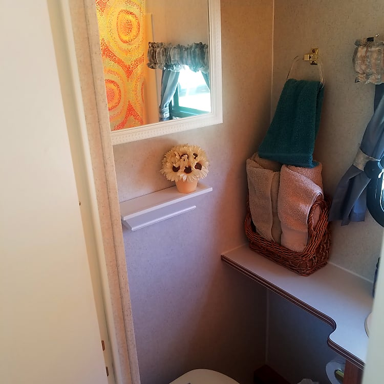 Cozy (small) comfort room with flush.