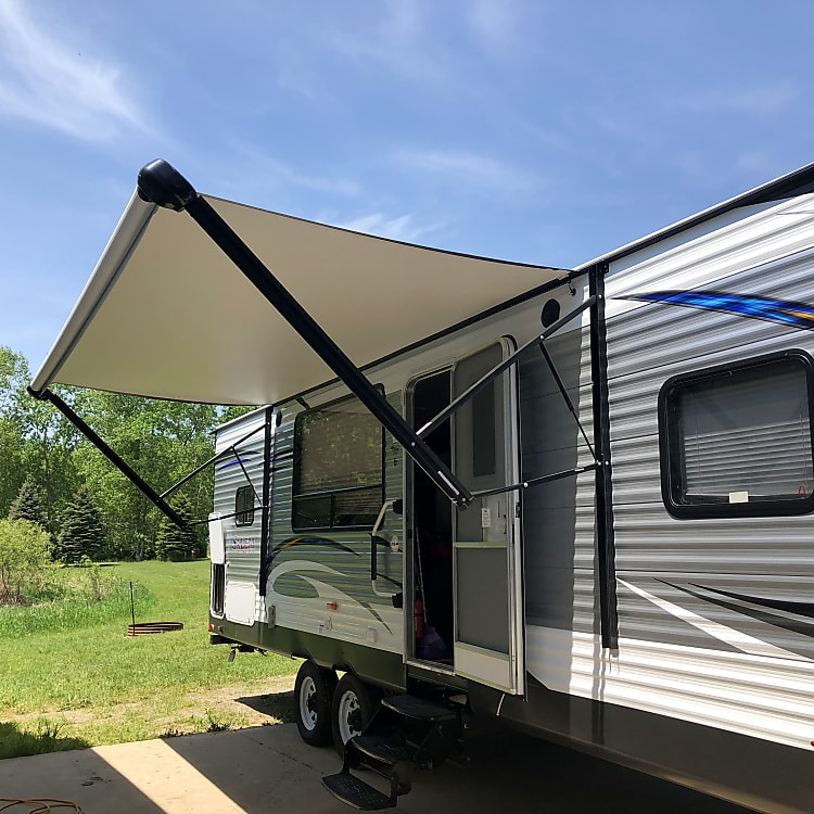 Electric awning with LED lights