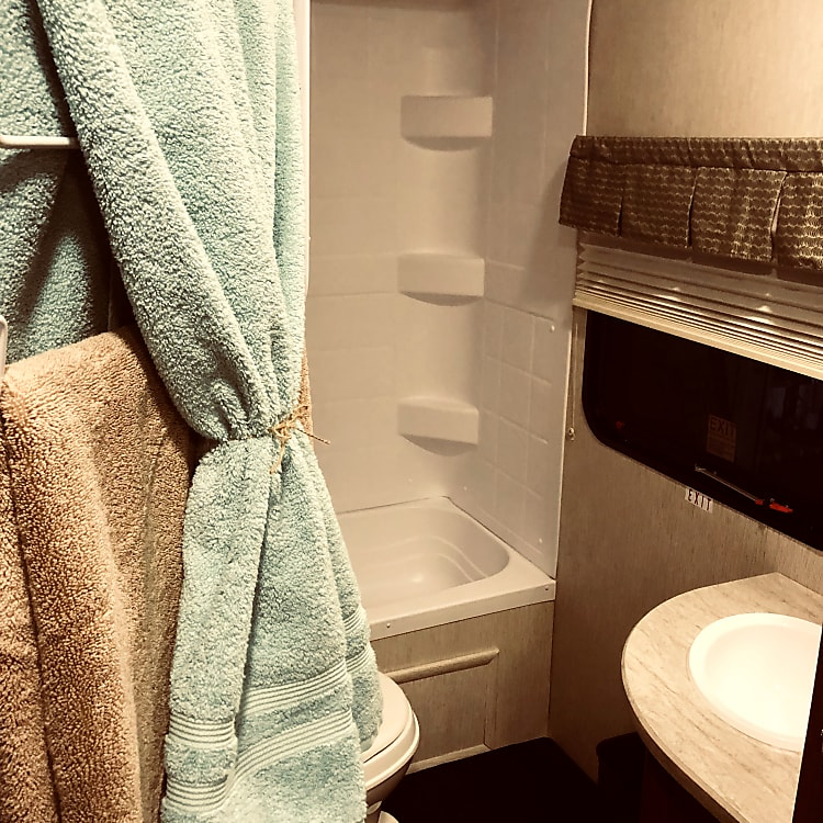 Bathroom comes stocked with Towels