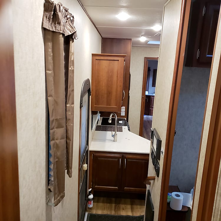Leaving master to bathroom and kitchen/living room
