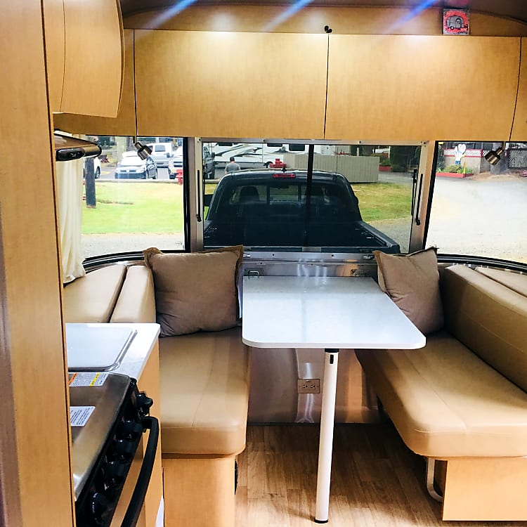 Comfortable dinette for 4, converts to a bed to sleep up to 2 additional people
