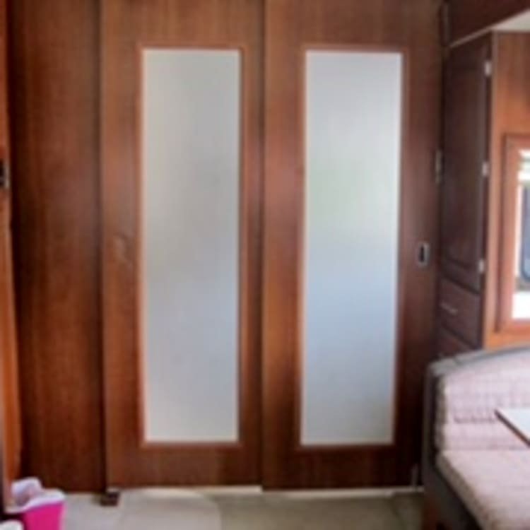Divider of master bedroom and front of RV