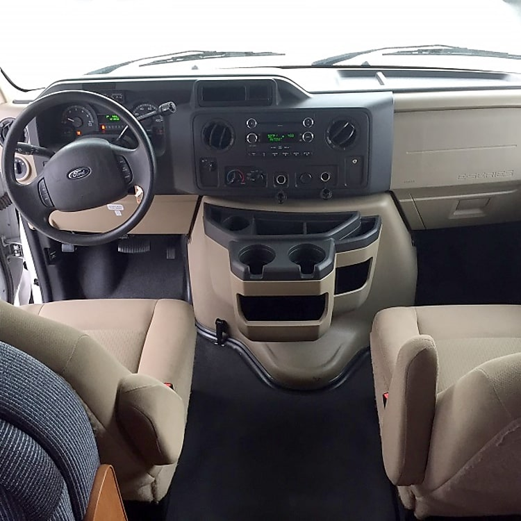 Drivers seat, console and passenger seat
