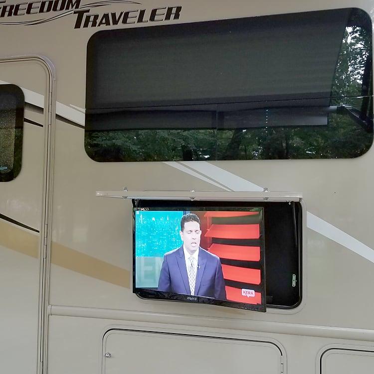 Adjustable outdoor TV. Sun glare? no problem