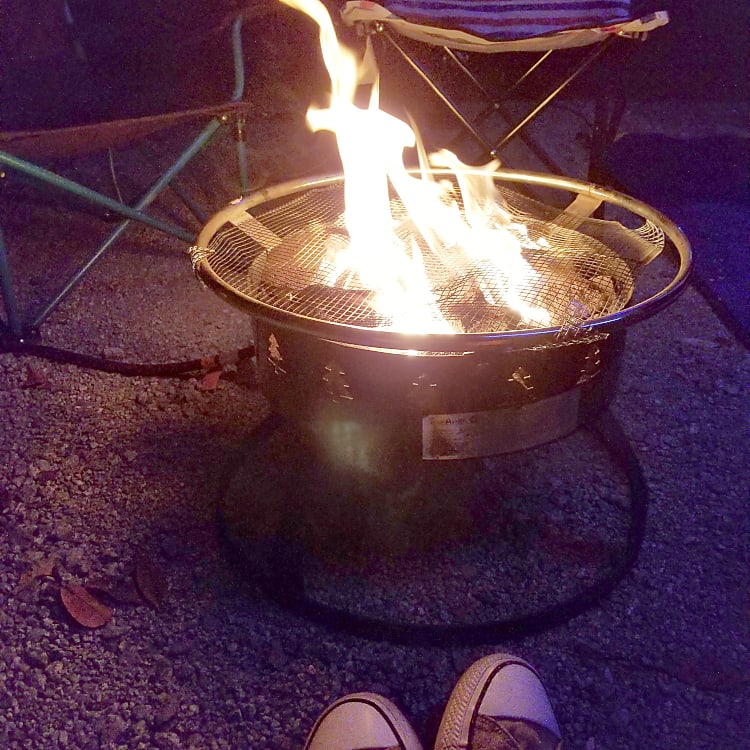 Optional gas fire pit for those locations where firewood is not allowed.