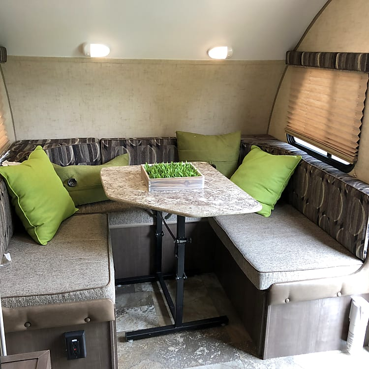 The dining area breaks down into a sleeping area for 2