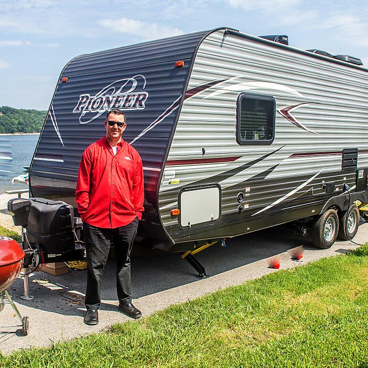 Brand New Heartland Pioneer 2017 Travel Trailer. Owner Bellamy Gunelic has lived in Fayetteville Arkansas for 30 years.