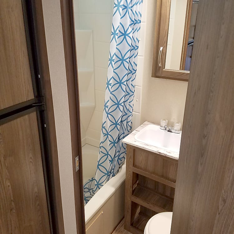 Full bathroom with sink!  Only model of this size with a bathroom sink