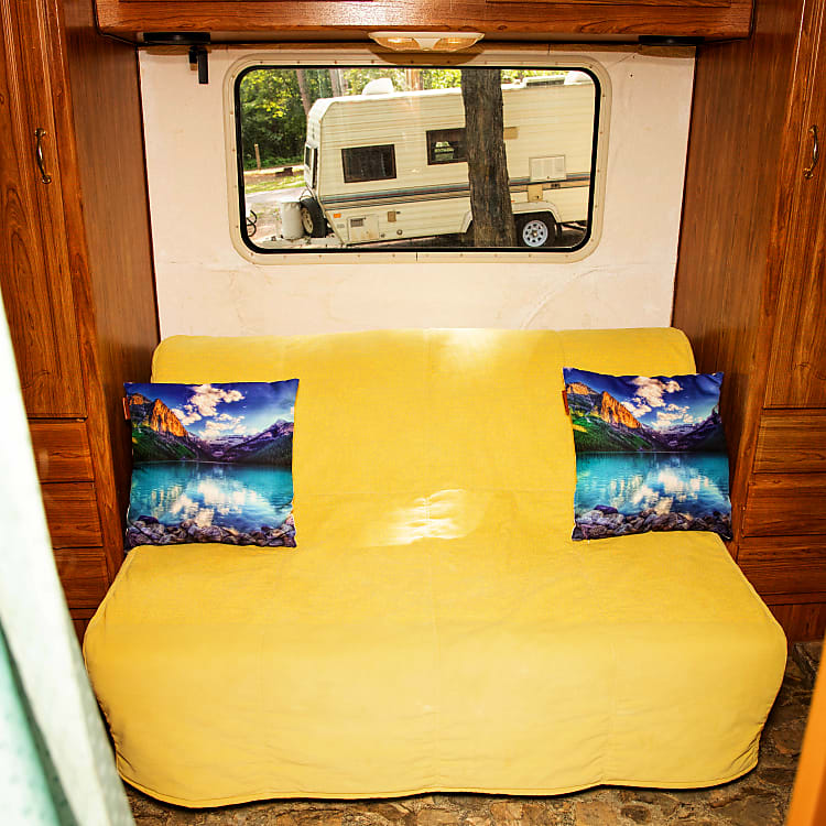 Sofa bed, creates more space in bedroom.