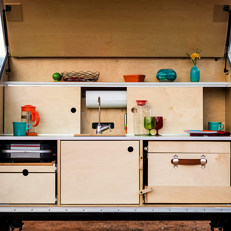 The galley has plenty of counter space and a sink