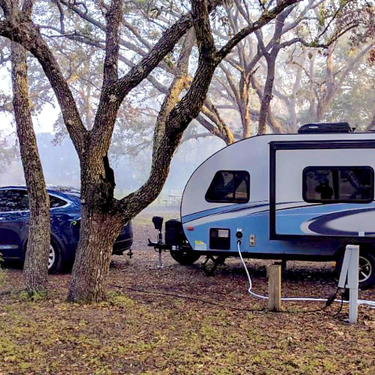Yup, that's a Tesla! (in central Florida) -Actual travel trailer setup!