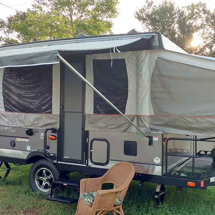Exterior of our brand new 2018 Forest River Flagstaff Extreme Sports Enthusiast Pop Top Camper. Dual Propane Tanks and Front-end Platform to haul sports equipment.