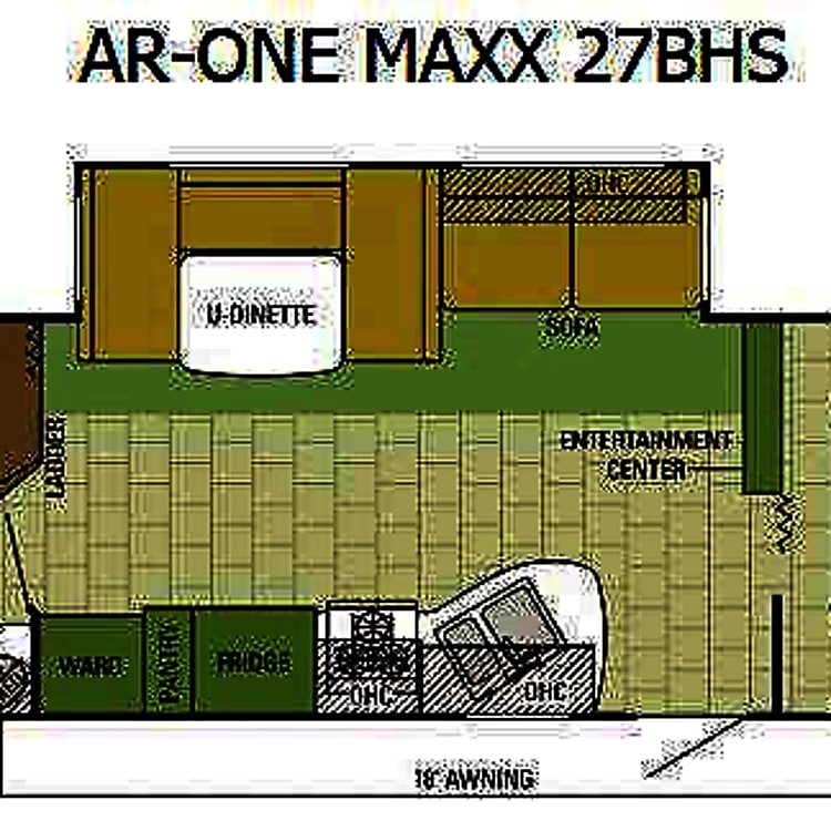 Floor plan includes 1 slide out to create a roomy interior.