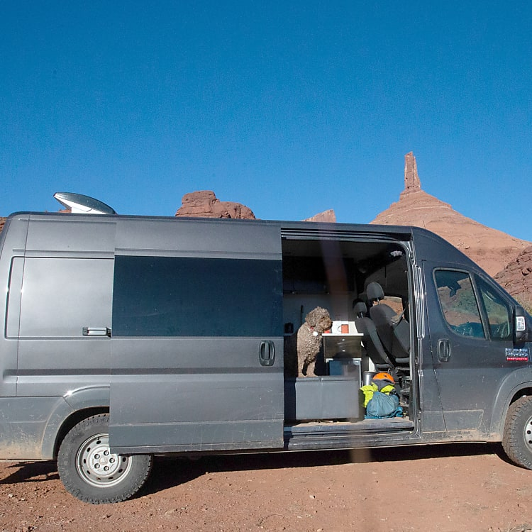 fans keep the van cool in the desert