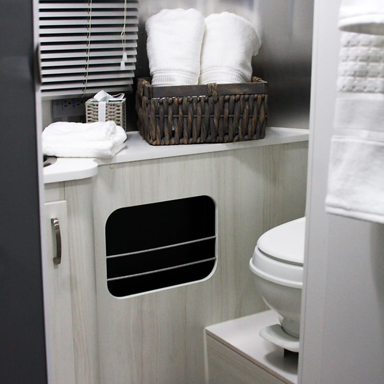 Plush, luxury bath towels, hand towels and wash cloths. Hot water on demand using solar and propane and/or electric hookup. Over the sink, wall-mounted, swiveling magnification mirror.