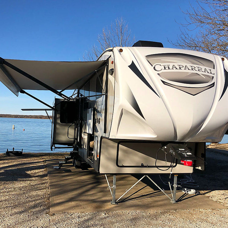 2019 Coachmen Chaparral 392MBL with awning and slide outs extended