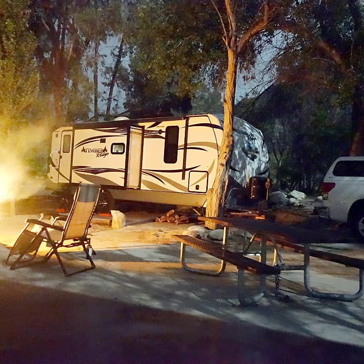 Fire going while camping on the Kern River.