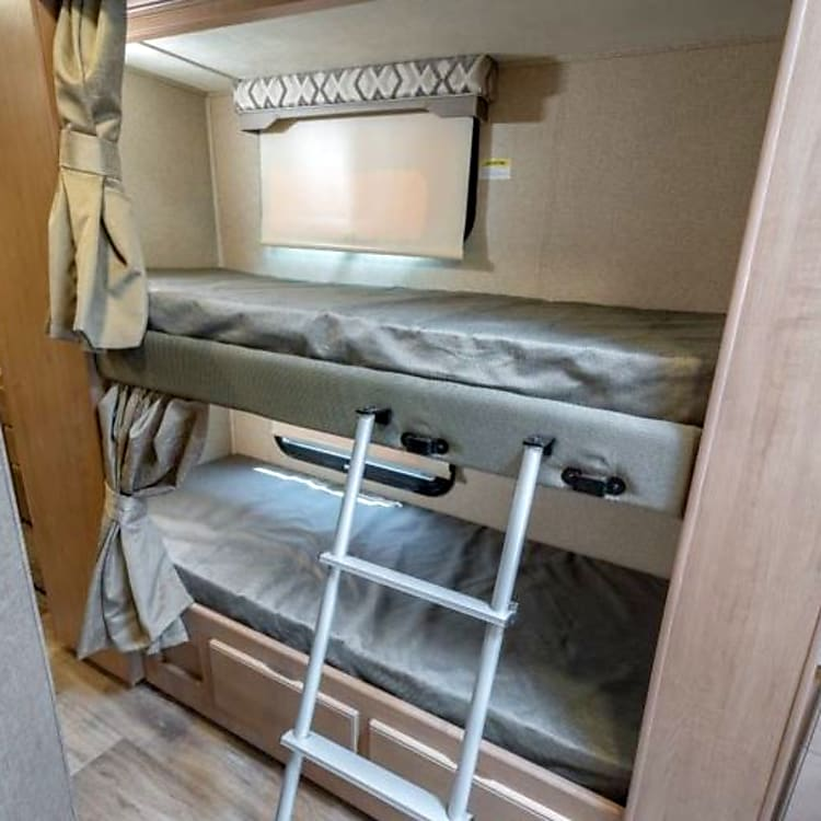 Bunks with individual TV/DVD systems