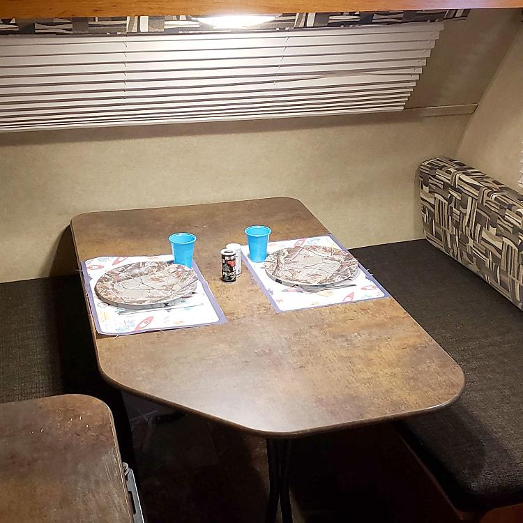 Plenty of room for four to dine inside in comfort.