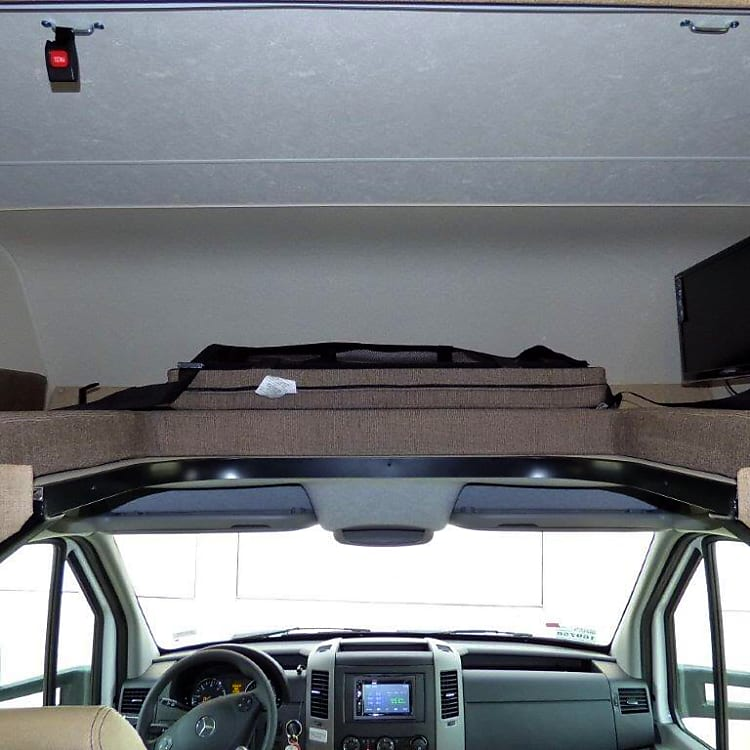 Over the cab sleeping for two. Shown with removable mattress removed.