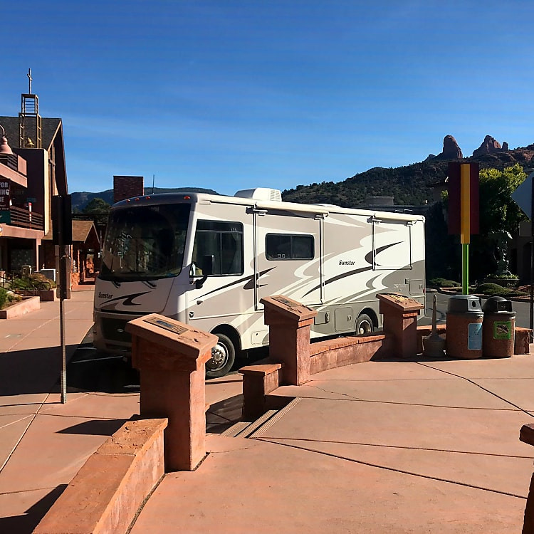 Not too big to park! Granted this was a large space in Sedona, but this rig is pretty manageable and easy to navigate.