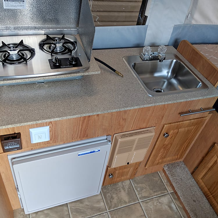 Fridge, Stove top and sink