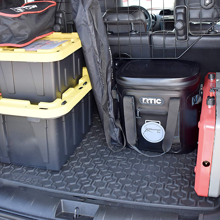 Gear included: gas stove, cooler, table, chairs (4), dry food storage container, cooking equipment, first aid kit, tire repair kit, full size spare tire, car jump-starter/power pack.