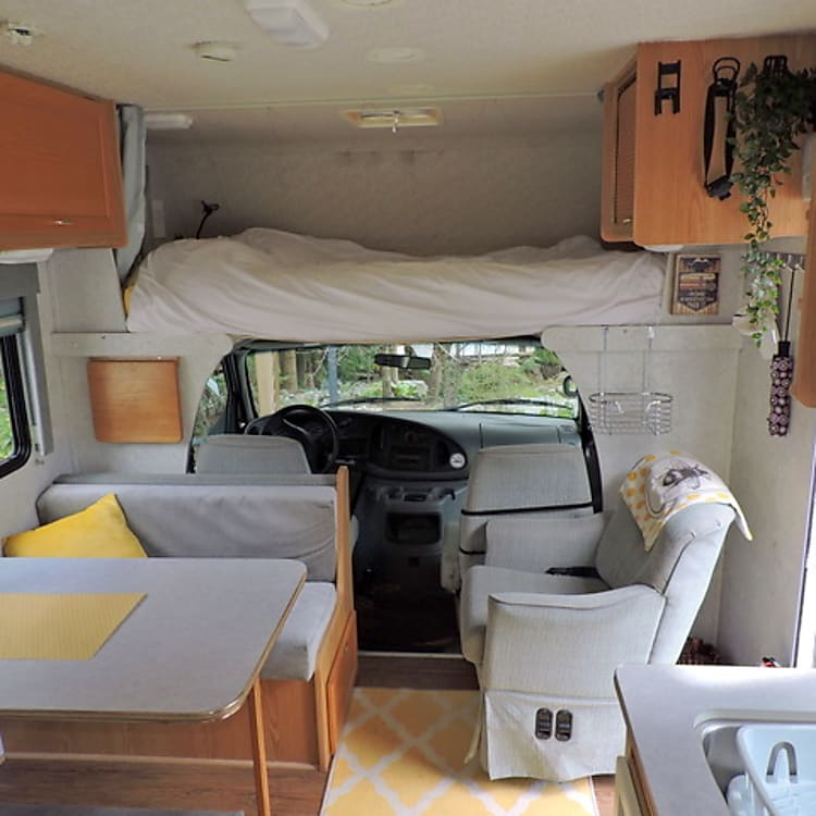 Cozy interior with extra long over cab bed