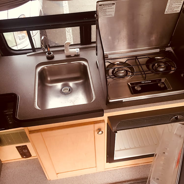 Sink, stove, refrigerator