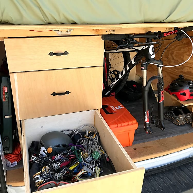 Three huge slide drawers hold all your gear, tools, etc.