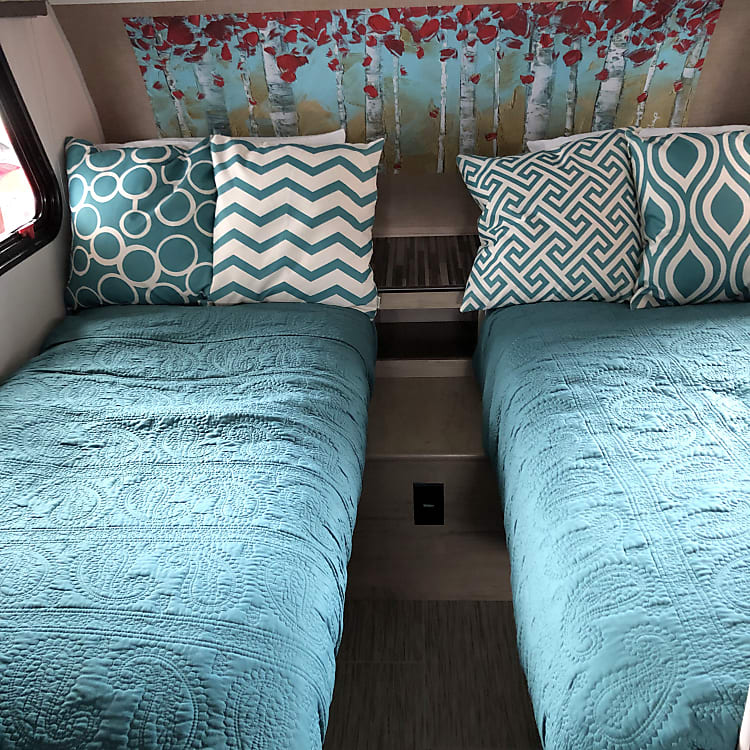 Twin beds for sleeping.