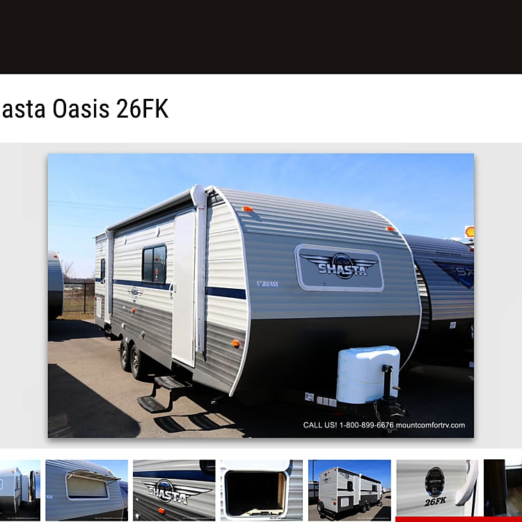 The outside of our 2020 Shasta Oasis Travel Trailer