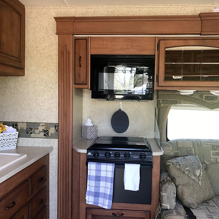 Microwave, 4 burner stove, oven