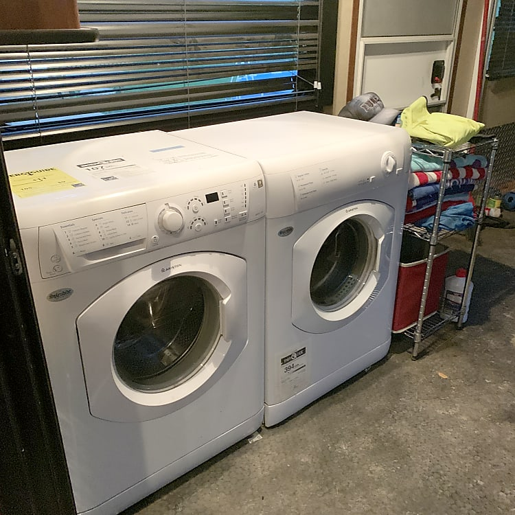 Washer and dryer in garage.