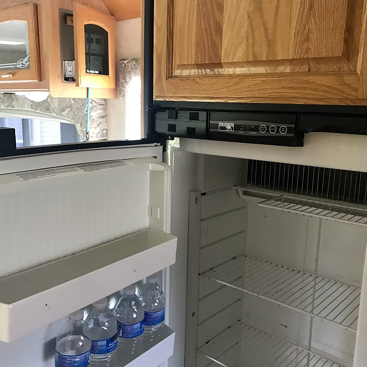 Fridge has ample storage for frozen and perishable foods.