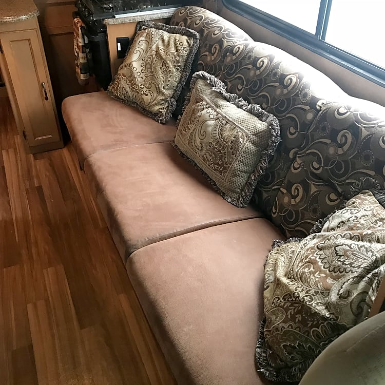 Convertible sofa bed, slide out creates extra space