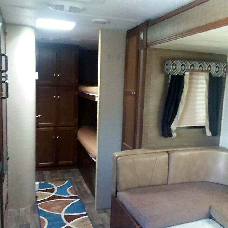 Plenty of storage space for you things. Twin bunk beds
