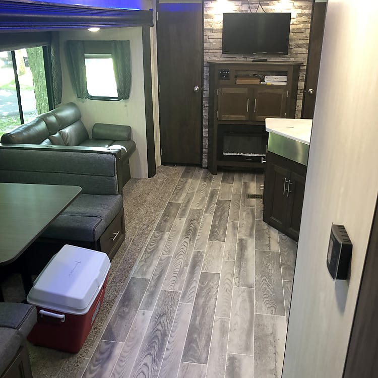 Camper is equipped with fireplace.  Can be used for heat or ambiance