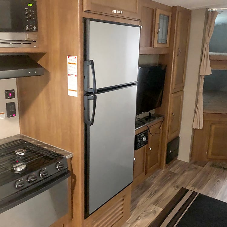 Stove/Oven, Microwave, and Large Fridge