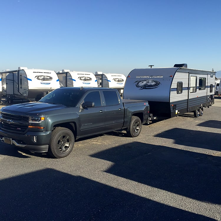 Towable with a 1500 truck or full size SUV! Weight distribution hitch included for stock height vehicles.