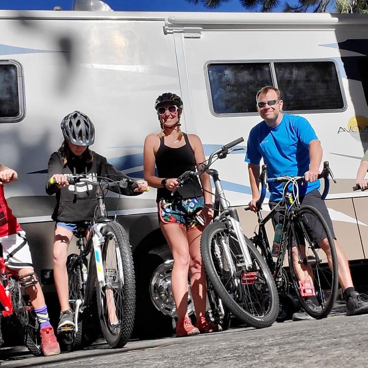 Campers enjoying biking on their trip - July 2019