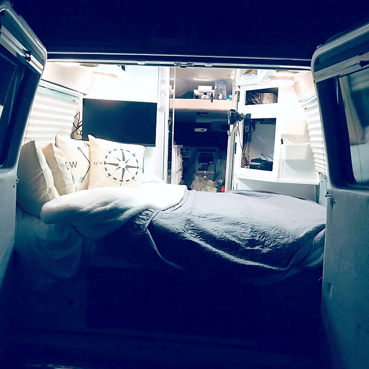 Sleep in the full sized bed with the back open to the cool evening air! Or, cuddle up inside and turn on the furnace!