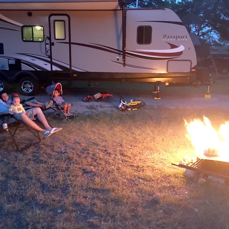 Enjoy a campfire and listen to some tunes with the outdoor speakers.