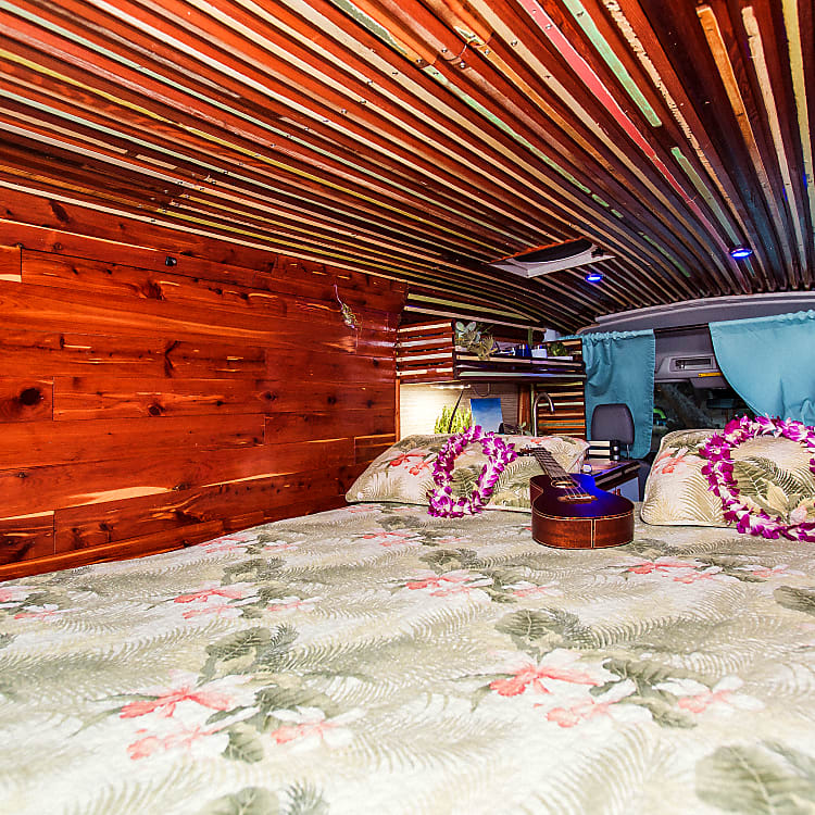Vintage red cedar ceiling recycled wood from original Hawaiian plantation home
