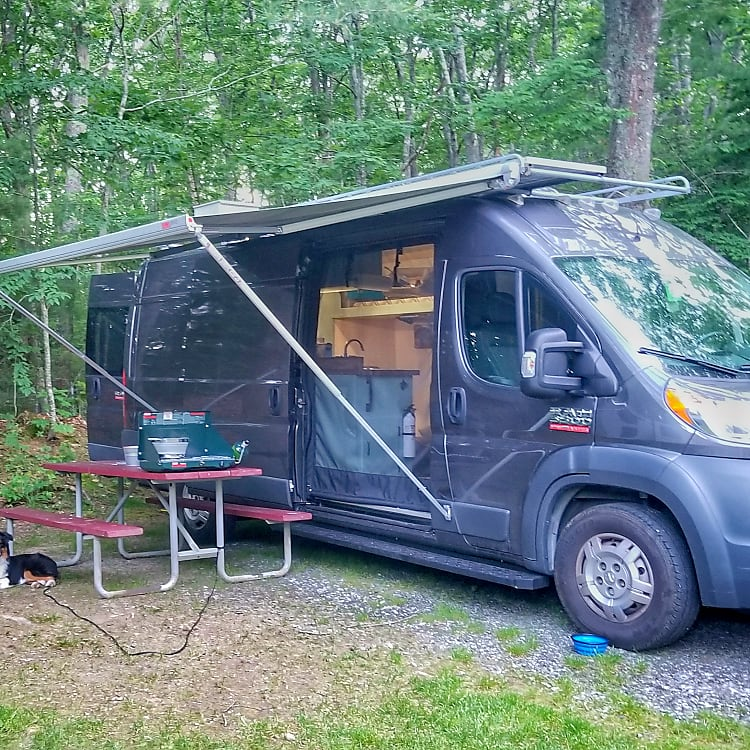 Picture showing awning and screen on side door.