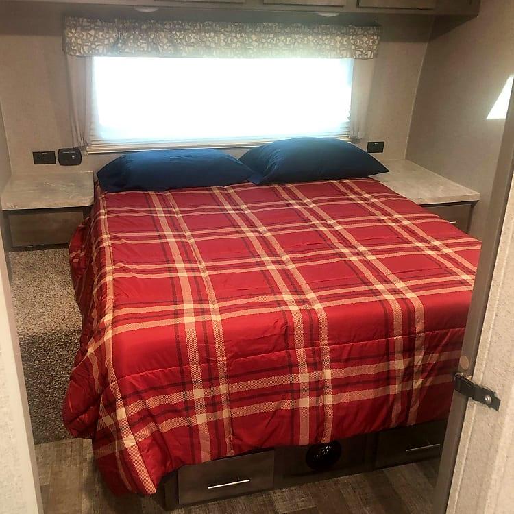 comfortable memory foam queen in master bedroom.  tons of storage
