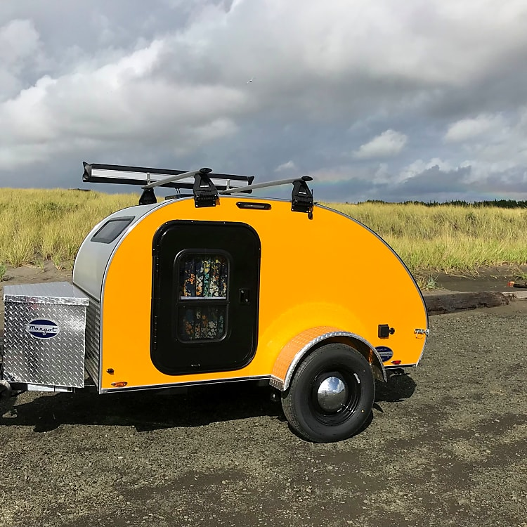 Welcome, Margot! Our sparking new 2019 Aero Teardrop Trailer.