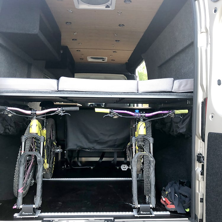 Bike rack in cargo area. Keep bikes clean and protected while on your trip.